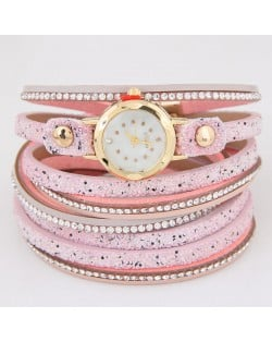 Shining Beads Embellished Multi-layers High Fashion Wrist Watch - Pink