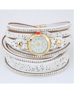 Shining Beads Embellished Multi-layers High Fashion Wrist Watch - White