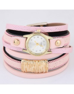 Golden Alloy Decorated Multi-layers Fashion Leather Wrist Watch - Pink