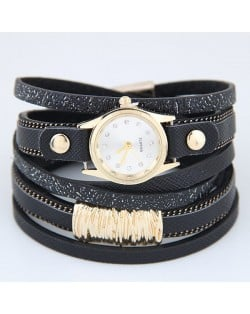 Golden Alloy Decorated Multi-layers Fashion Leather Wrist Watch - Black