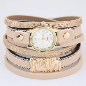 Golden Alloy Decorated Multi-layers Fashion Leather Wrist Watch - Khaki