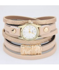 Golden Alloy Decorated Multi-layers Fashion Leather Wrist Watch - Khaki