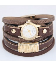 Golden Alloy Decorated Multi-layers Fashion Leather Wrist Watch - Coffee