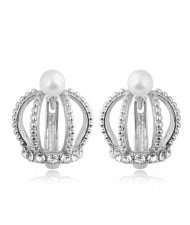 Rhinestone and Pearl Embellished Hollow Crown Korean Fashion Women Statement Earrings - Silver
