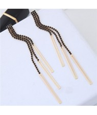 Glistening Rhinestone Tassel High Fashion Women Statement Earrings - Black