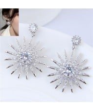 Cubic Zirconia Inlaid Sun Flower Shining High Fashion Statement Earrings