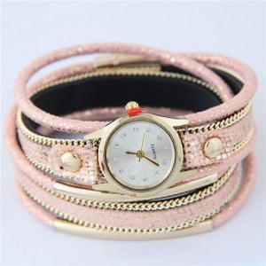 Alloy Chains and Pipes Decorated Multi-layers High Fashion Leather Wrist Watch - Pink