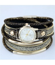 Alloy Chains and Pipes Decorated Multi-layers High Fashion Leather Wrist Watch - Black