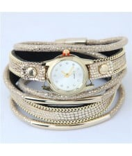 Alloy Chains and Pipes Decorated Multi-layers High Fashion Leather Wrist Watch - Khaki