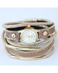 Alloy Chains and Pipes Decorated Multi-layers High Fashion Leather Wrist Watch - Brown
