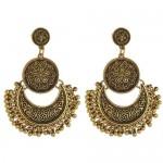 Vintage Flowers Engraving Bohemian Fashion Women Statement Earrings - Golden