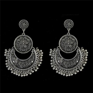 Vintage Flowers Engraving Bohemian Fashion Women Statement Earrings - Silver