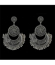 Vintage Flowers Engraving Bohemian Fashion Women Statement Earrings - Silver