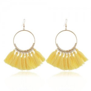 High Fashion Cotton Threads Tassel Big Hoop Statement Earrings - Yellow
