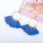 High Fashion Cotton Threads Tassel Big Hoop Statement Earrings - Blue