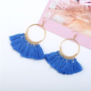 High Fashion Cotton Threads Tassel Big Hoop Statement Earrings - Blue