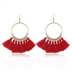 High Fashion Cotton Threads Tassel Big Hoop Statement Earrings - Red