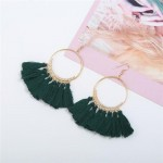 High Fashion Cotton Threads Tassel Big Hoop Statement Earrings - Green