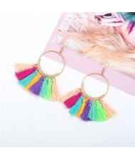 High Fashion Cotton Threads Tassel Big Hoop Statement Earrings - Multicolor