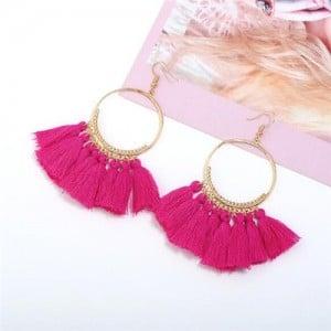 High Fashion Cotton Threads Tassel Big Hoop Statement Earrings - Rose