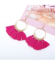 High Fashion Cotton Threads Tassel Big Hoop Statement Earrings - Pink