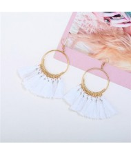 High Fashion Cotton Threads Tassel Big Hoop Statement Earrings - White