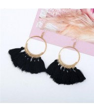 High Fashion Cotton Threads Tassel Big Hoop Statement Earrings - Black