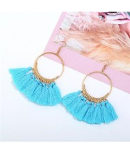 High Fashion Cotton Threads Tassel Big Hoop Statement Earrings - Sky Blue