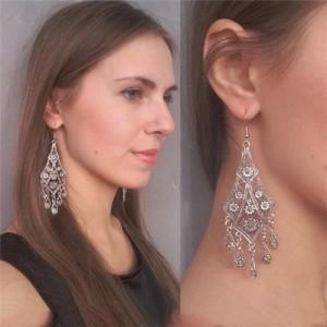 Hollow Floral Waterdrop Dangling Fashion Earrings - Silver