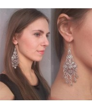 Hollow Floral Waterdrop Dangling Fashion Earrings - Silver