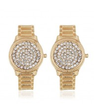 Rhinestone Inlaid Wrist Watch Design High Fashion Statement Earrings - Golden