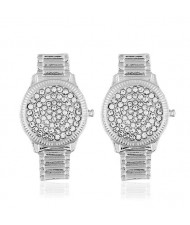 Rhinestone Inlaid Wrist Watch Design High Fashion Statement Earrings - Silver