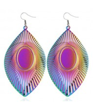High Fashion Big Leaves Design Alloy Earrings - Gradient Color