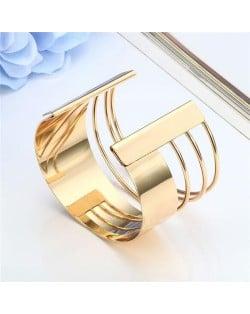 Unique Hollow Design Wide Style Open-end Alloy Fashion Bangle - Golden