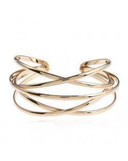 Vintage Hollow Design Open-end Style Elegant Fashion Bangle - Golden