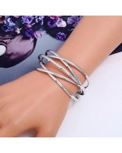 Vintage Hollow Design Open-end Style Elegant Fashion Bangle - Silver