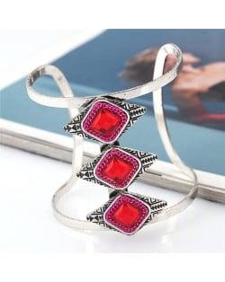 Gem Inlaid Hollow High Fashion Folk Style Alloy Bangle - Red