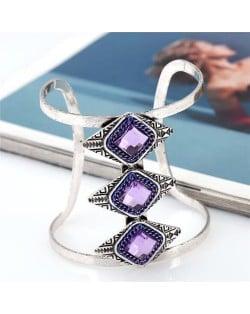Gem Inlaid Hollow High Fashion Folk Style Alloy Bangle - Purple
