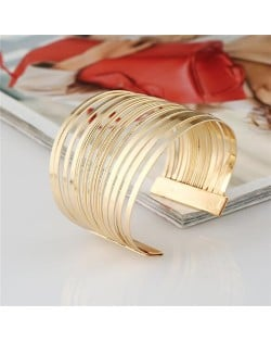 Multi-layers Wide Design Chunky Style Open-end High Fashion Alloy Bracelet - Golden