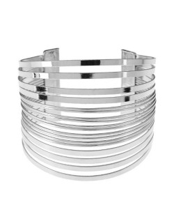 Multi-layers Wide Design Chunky Style Open-end High Fashion Alloy Bracelet - Silver