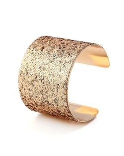Sequins Attached Wide Style High Fashion Open-end Bangle - Golden