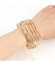 Simple Weaving Style Open-end Design High Fashion Alloy Bracelet - Golden
