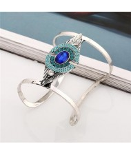 Attractive Gem Inlaid Geometric Design Hollow Fashion Costume Bangle - Blue