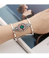 Attractive Gem Inlaid Geometric Design Hollow Fashion Costume Bangle - Green