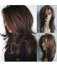 Gradient Color Long Curly Hair High Fashion Women Synthetic Wig