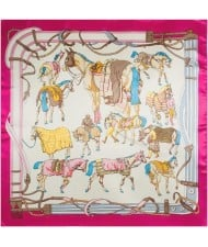 4 Colors Available Various Horses Image Vintage Style High Fashion Square Scarf