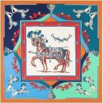 3 Colors Available Royal Horses European Fashion 130*130 cm Square Scarf