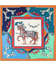 3 Colors Available Royal Horses European Fashion 130*130 cm Square Scarf