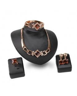 Square Shape Gems Combo High Fashion 4pcs Luxurious Style Jewelry Set