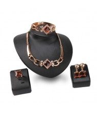 Square Shape Gems Combo High Fashion 4pcs Luxurious Style Jewelry Set